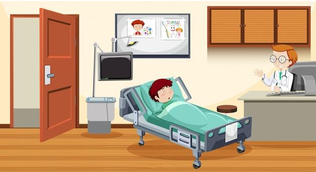Chory dziecko w łóżku przy szpitalem