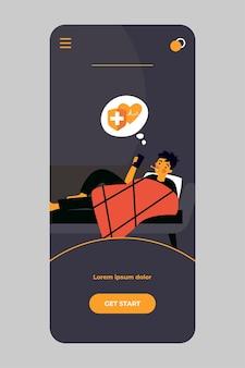 Chory dzwoni pogotowie ratunkowe w aplikacji mobilnej