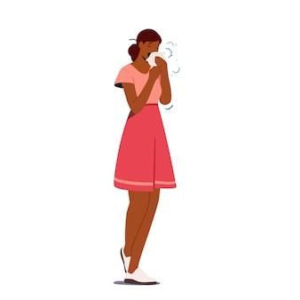 Chory kobiecy charakter kichający z cieknącym nosem