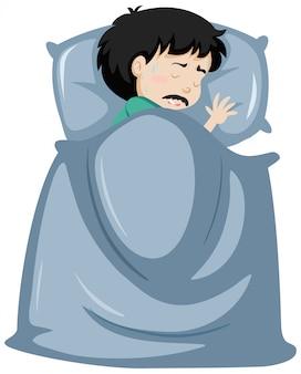 Chory mężczyzna odpoczywa w łóżku