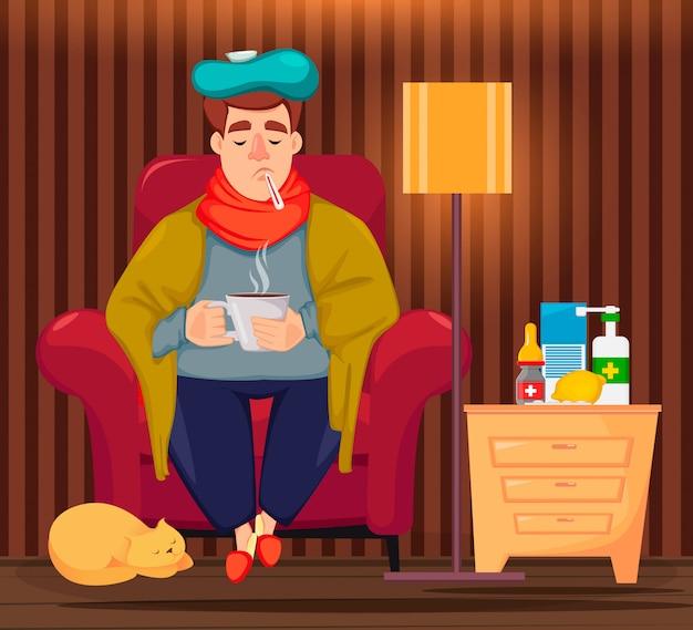 Chory mężczyzna siedzi w fotelu