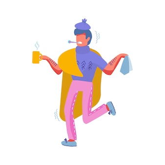 Chory na przeziębienie. chory męski charakter owinięty w ciepłą kratę z gorącym napojem w filiżance i chusteczką z termometrem w ustach. ilustracja kreskówka płaski