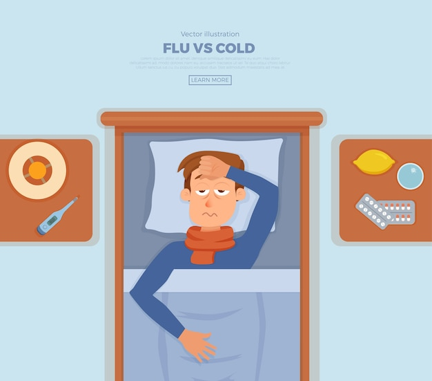 Chory w łóżku z objawami przeziębienia, grypy. postać z kreskówki na poduszce z kocem i szalikiem, medycyna, cytryna, termometr. ilustracja niezdrowych mężczyzn z wysoką gorączką, bólem głowy.