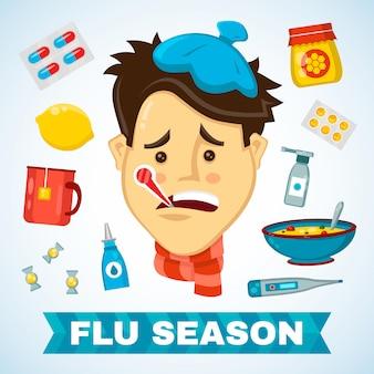 Chory z termometrem w ustach płaski charakter choroby ilustracja. płaskie na białym tle zestaw ikon z sezonem przeziębienie, choroby, ból i grypa. ikona infografikę. zima, szalik, złe samopoczucie