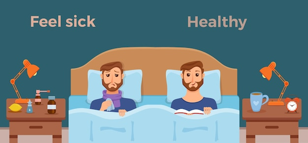 Chorzy mężczyźni w łóżku objawy przeziębienia, grypy i czują się dobrze zdrowy mężczyzna z książką