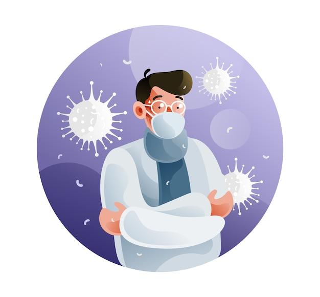 Chorzy mężczyźni z powodu koronawirusa używają masek