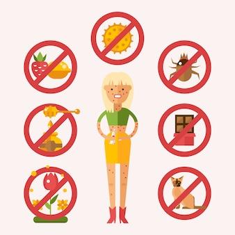 Chorzy uczuleni na zewnętrzne czynniki drażniące i jedzenie, ilustracja. wysypka skórna kobiety od jedzenia, pyłków, owadów i zwierząt domowych.