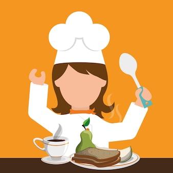 Chracter girl chef śniadanie zdrowej żywności łyżka