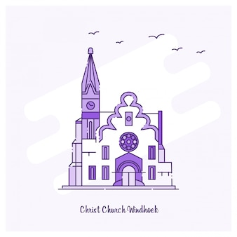 Christ kościół windhoek landmark purple dotted line skyline