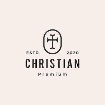 Christian cross church hipster vintage logo