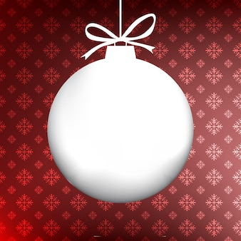 Christmas ball tło z miejsca na kopię i wzór płatka śniegu