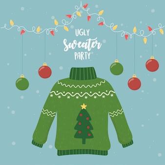 Christmas brzydki sweter party wiszące kule światła