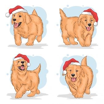 Christmas cute santa claus puppy set
