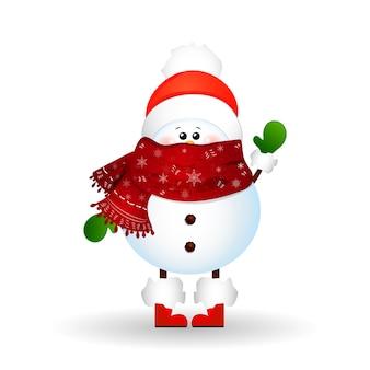 Christmas cute snowman z szalikiem i czerwonym czapką mikołaja, pozdrowienia na białym tle. ilustracja kreskówka wektor.