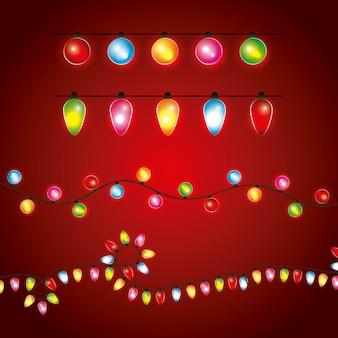 Christmas differents girlandy świecą świetlistą dekoracją