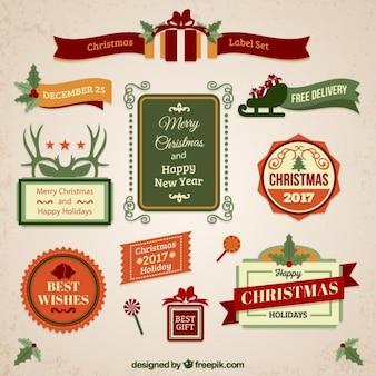 Christmas etykiety rocznika