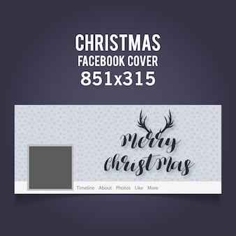 Christmas facebook cover zawierająca typograhy i rogi na jasnoszarym tle
