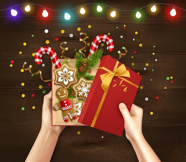 Christmas gift wood background
