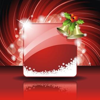 Christmas ilustracji z holly i dzwony na czerwonym tle
