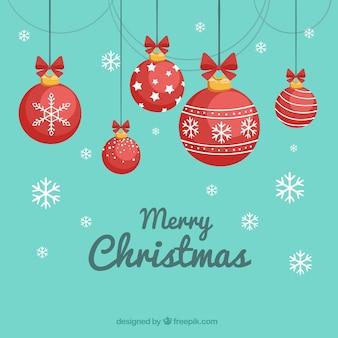 Christmas kulki i płatki śniegu