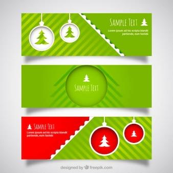 Christmas kulki zielone banery jucznych