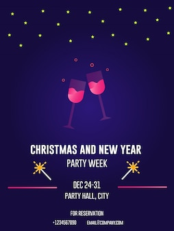 Christmas night drinks party gradient party flyers