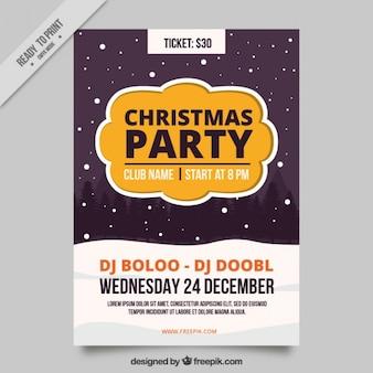 Christmas party broszura z padającego śniegu