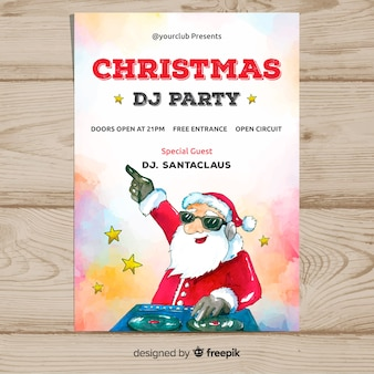 Christmas party dj santa claus plakat szablon