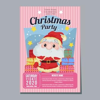 Christmas party festiwal wakacje plakat szablon święty mikołaj obecny prezent