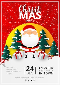 Christmas party flyer z płaska konstrukcja