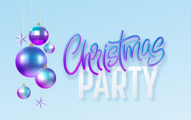Christmas party kaligrafia napis kartkę z życzeniami z niebieskim złotym metalicznym ozdób choinkowych na białym tle na niebieskim tle. ilustracja wektorowa eps10