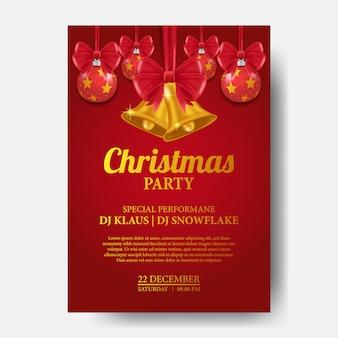 Christmas party plakat z dzwonkiem i cacko