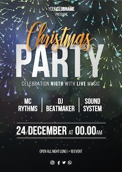 Christmas party plakat z fajerwerkami w tle