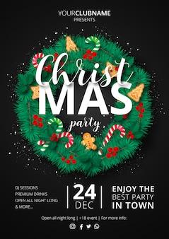 Christmas party plakat z ozdobnym wieniec
