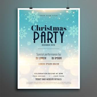 Christmas party płatki śniegu ulotki plakat szablon