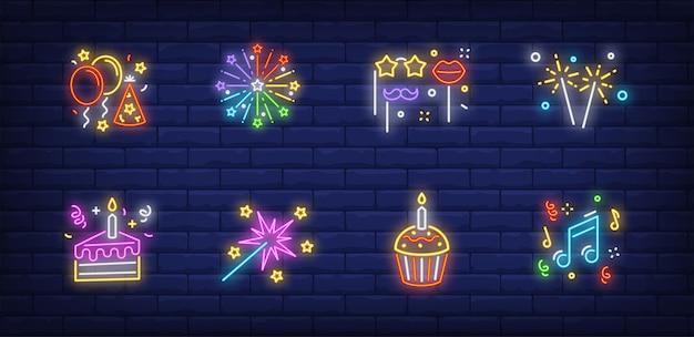 Christmas party symbolss ustawione w kolekcji w stylu neonowym