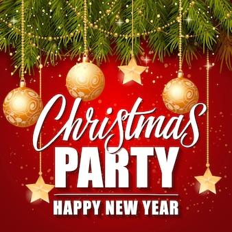 Christmas Party Szczęśliwego Nowego Roku Napis