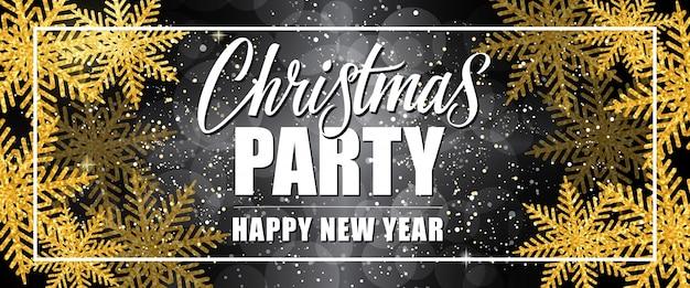 Christmas party szczęśliwego nowego roku napis w granicy