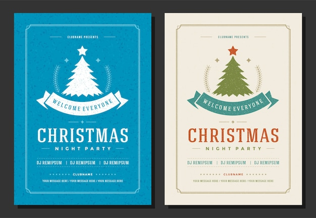Christmas party ulotki zaproszenie retro typografia i elementy dekoracji. plakat świąt bożego narodzenia.