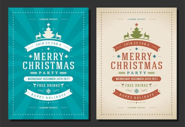 Christmas party zaproszenie retro typografia i elementy dekoracji