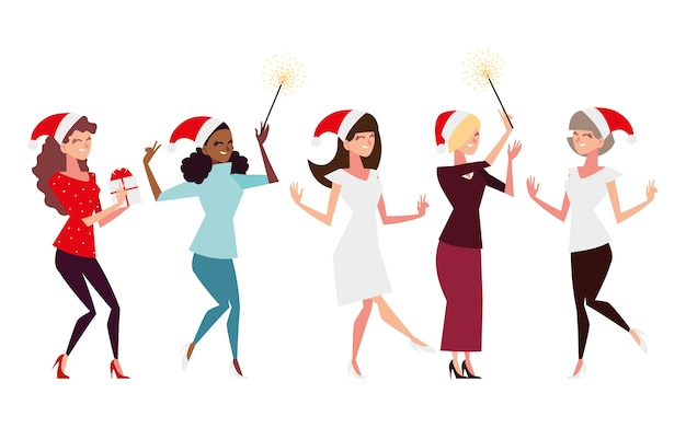 Christmas people, group women with santa hat gift and fireworks celebrating illustration