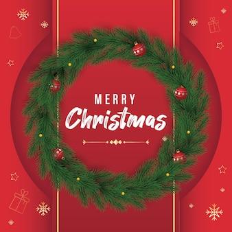 Christmas post z wektorem wieniec