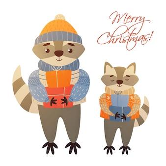 Christmas racoots wesołych świąt