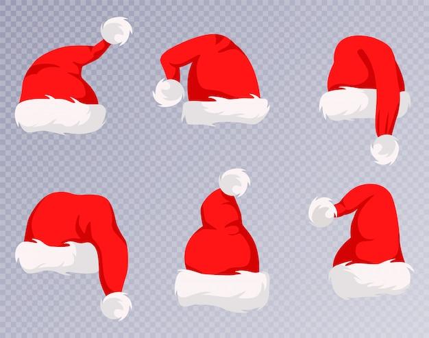Christmas santa claus czapki z zestawem futra. nowy rok czerwony kapelusz na białym tle.