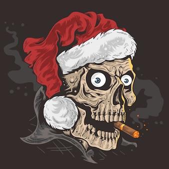 Christmas santa claus skull
