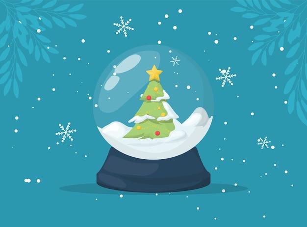 Christmas snow globe ze spadającym śniegiem i choinką.