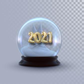 Christmas snow globe ze złotymi 2021 liczbami na przezroczystym tle. 3d ilustracji. dekoracja świąteczna. ozdoba świąteczna zima.
