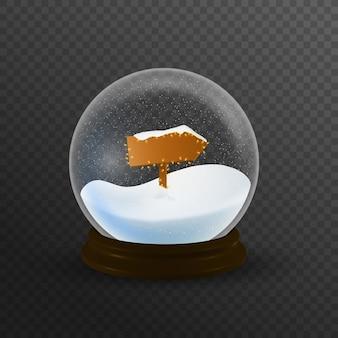 Christmas snow globe ze znakiem bieguna północnego i padającego śniegu, ilustracji.