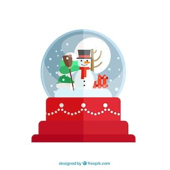 Christmas snow globu z happy bałwana