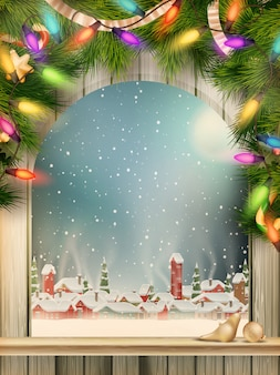 Christmas theme - okno z rodzajem na zimowej wiosce.